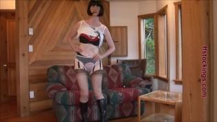 FFstockings – Mature's upskirt sheer panty show