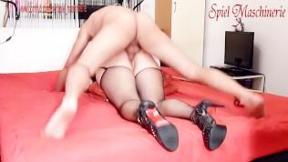 Nice ass slave slut with latex mask gets fucked hard